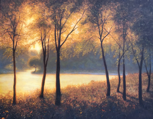 Oil landscape painting of sunlight through trees by Michael Orwick