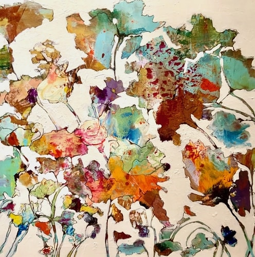 Abstract Floral mixed media painting by Melanie Ferguson