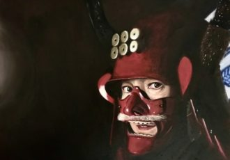 Oil painting of a woman with a Samurai helmet by Edi Matsumoto