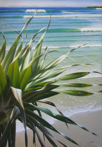 painting of the ocean and a palm tree by Mark Waller