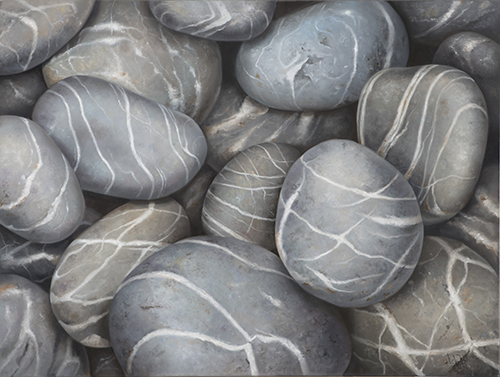 oil painting of grey stones by Lara Restelli