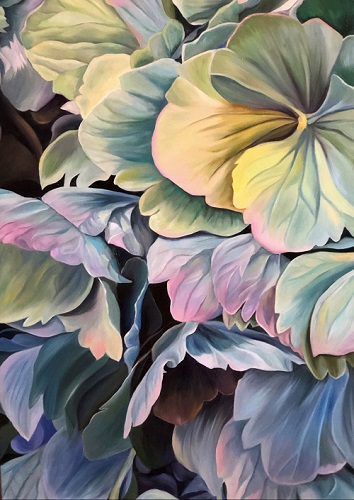 painting of hydrangeas in Limousin, France by Jacqueline Coates