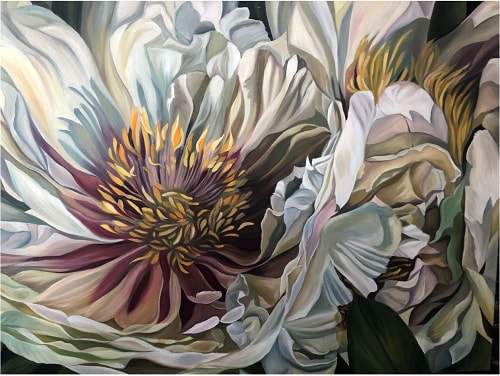 painting of a paris peony by Jacqueline Coates