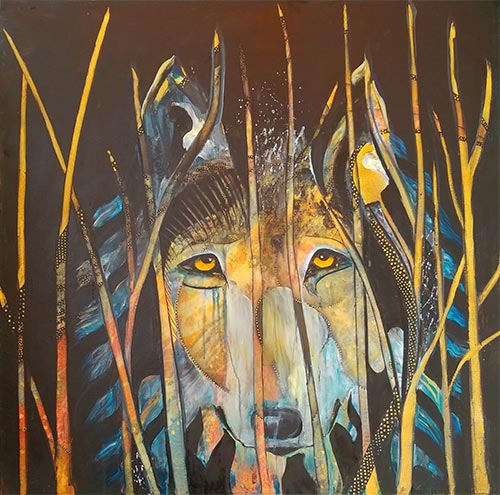 abstract portrait of a wolf by Pegi Smith