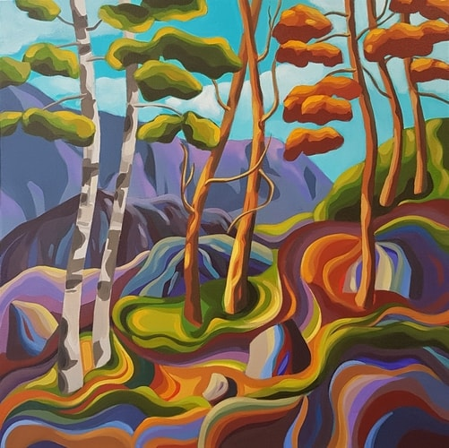 stylized landscape painting by Jodie Blaney