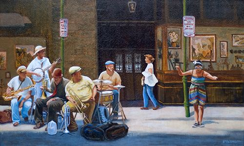 painting of a woman dancing to a New Orleans street band by William Crowell