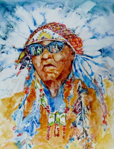 abstract watercolor portrait of an American Indian by Magali Lenarczak