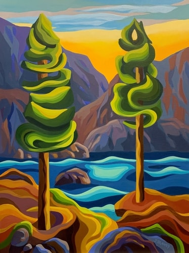 stylized landscape painting of the Pacific coast by Jodie Blaney