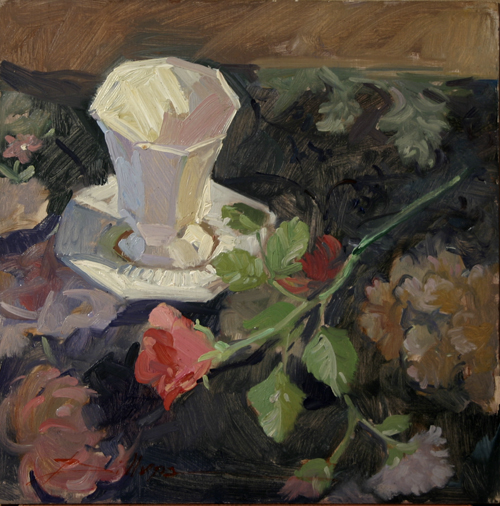 still life painting of a teacup and a rose by Betty Jean Billups