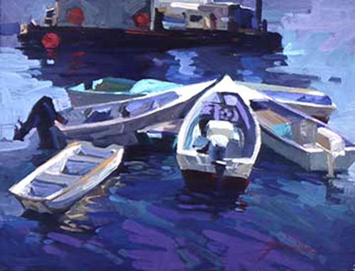 painting of moored rowboats by Betty Jean Billups