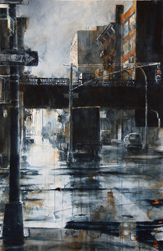Watercolor painting of New York City in the rain