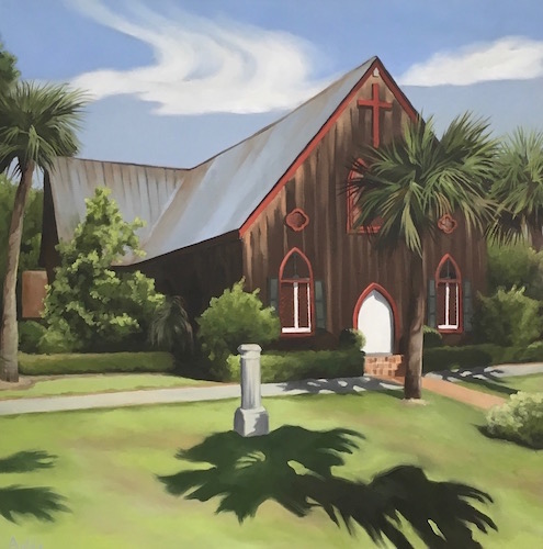 landscape painting with a brown church by Suzanne Aulds