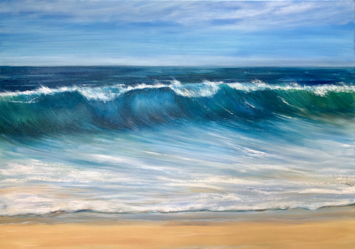 oil painting of the beach and ocean by Catherine Kennedy