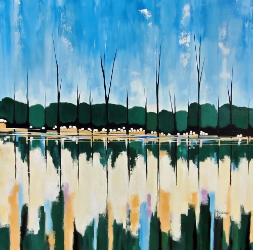 abstract landscape of a tree grove on the river by John Chehak