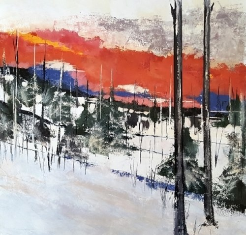abstract landscape of a snowy woods by John Chehak