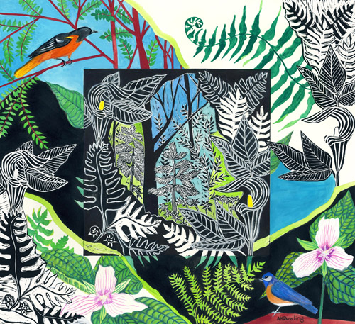 mixed media spring themed print of woods and birds by Audrey Kay Dowling