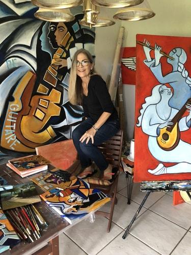 Artist Valerie Vescovi in her studio