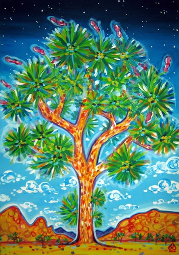 landscape painting of a Joshua Tree in Joshua Tree National Park, CA, by Rachel Houseman