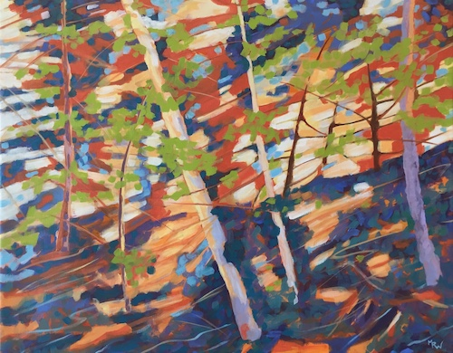 contemporary impressionistic wooded landscape painting by Marcia Wise
