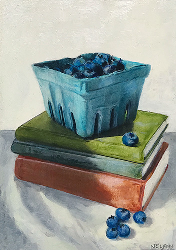 still life painting of blueberries and books by B St. Marie Nelson