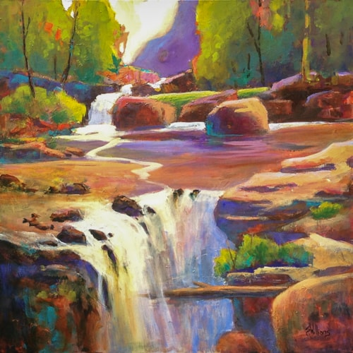 contemporary landscape painting of a waterfall by Sharon Lynn Williams