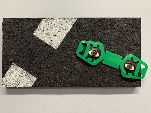 "mixed media painting of ""eyes"" on the road by Roberta Lynn Rose"