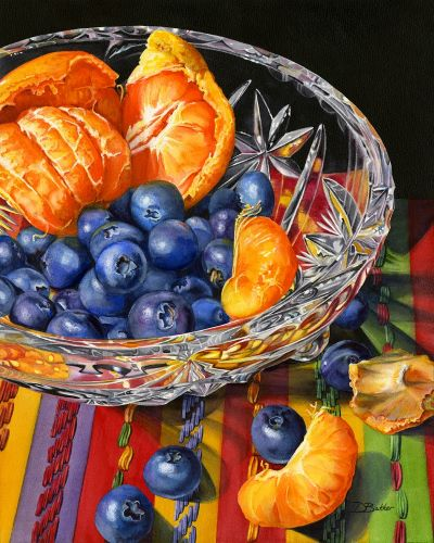 watercolor of clementines and blueberries in a crystal bowl by Debbie Bakker