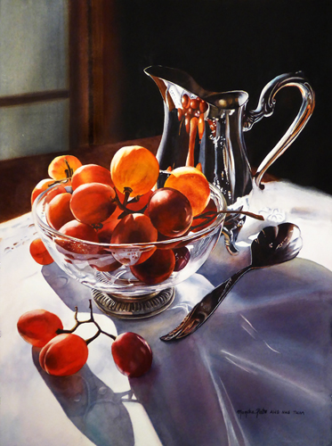 watercolor of grapes in a glass bowl by Monika Pate