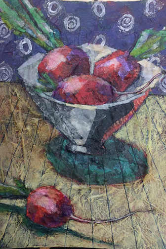collage still life of radishesin a bowl by Sudie Rakusin