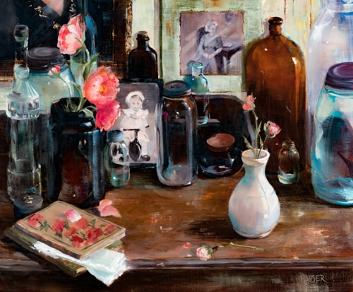oil still life of flowers, books and vases by Alice Hauser