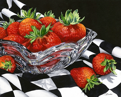 still life watercolor of a crystal bowl filled with strawberries by Debbie Bakker