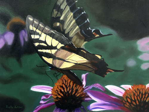 painting of a Swallotail butterfly on a flower by Paola Luther