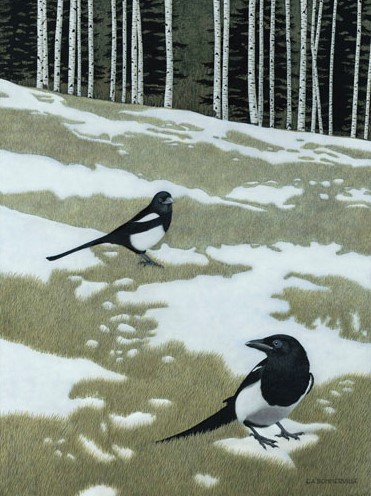 egg tempura painting of magpies in a snowy field by Elisabeth Sommerville