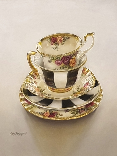 pastel of tea cups by Christine Broersen