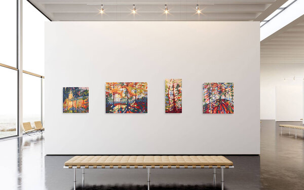 Series of paintings shown in gallery style