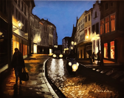 Painting of a street scene in Bruges