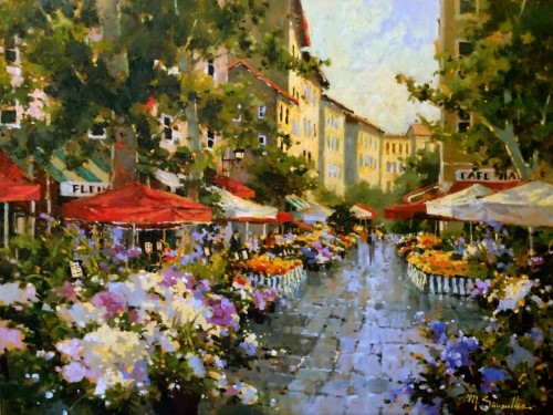 painting of a flower market in Paris by Marilyn Simandle