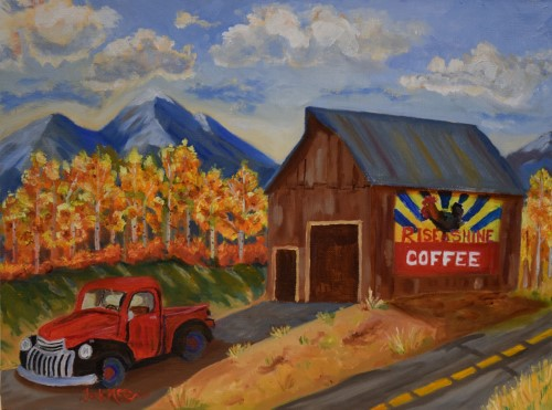 painting of a truck in front of a coffee shop in cuchara, colorado by Jack McGowan