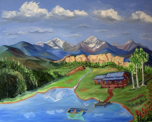 painting of a lake and mountains by Jack McGowan