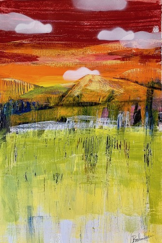 mixed media landscape of a red sky by L. Balombini/Red Paint Studio