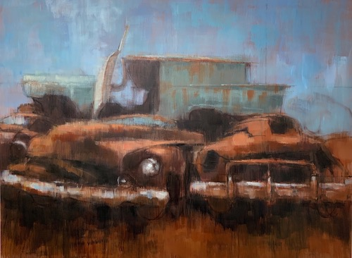 painting of rusted cars in Pennsylvania by Lara Ivanovic