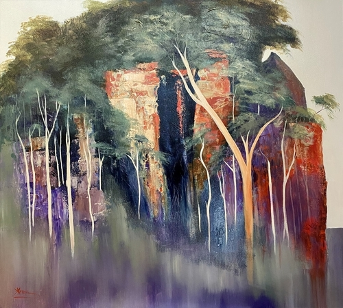 abstract painting of woods by Kathy Karas