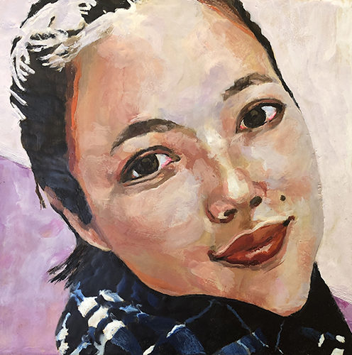 portrait of a smiling young woman by Linda Lowery