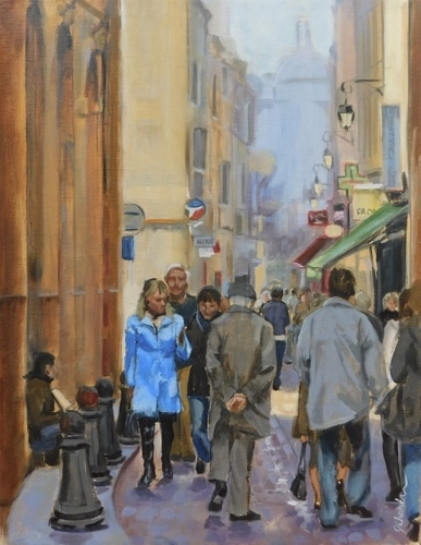 painting of a street scene in Aix by Jacqueline Chanda