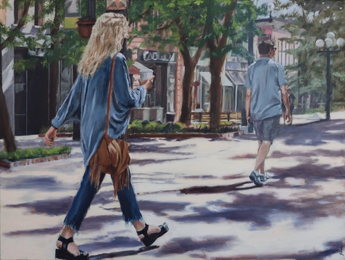 painting of a woman walking with her morning coffee by Jacqueline Chanda