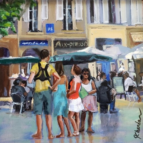 painting of people at a cafe called Aix-presso in Aix en Provence by Jacqueline Chanda