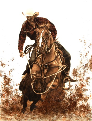 pyrography mixed media painting of a cowboy on horse by Julie Bender