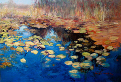 landscape painting of a lily covered pond by Sylvia Shanahan