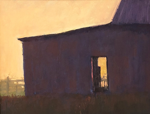pastel sunset landscape with a barn by Carol Strock Wasson