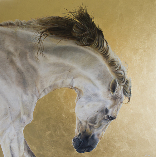 oil and gold leaf painting of a white horse by Nikki Carr